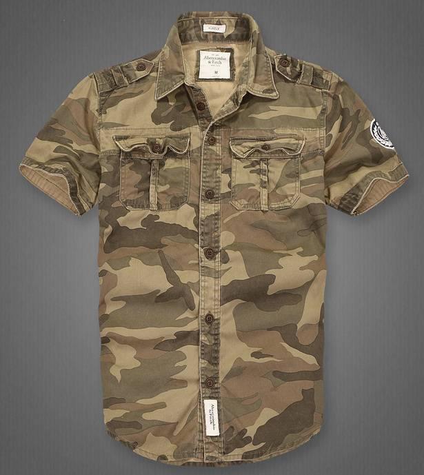 Рубашка Abercrombie & Fitch камуфляж песок
